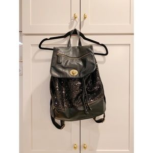 Sequin and Leather Backpack